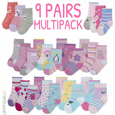 Baby Girls 9 Pairs Socks Novelty Assorted Designs Patterned Hosiery Cotton Rich