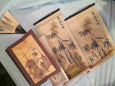 Large Lot of Japanese Vintage Art Pieces Fans Scrolls