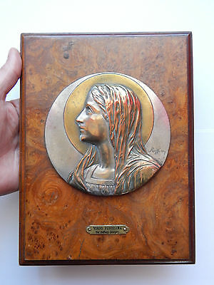 Antique French Religious Image, medal of virgin mary on wood ,reliquary