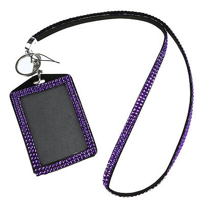 Rhinestone Bling Crystal Custom Lanyard Vertical ID Badge Holder (Purple) WD