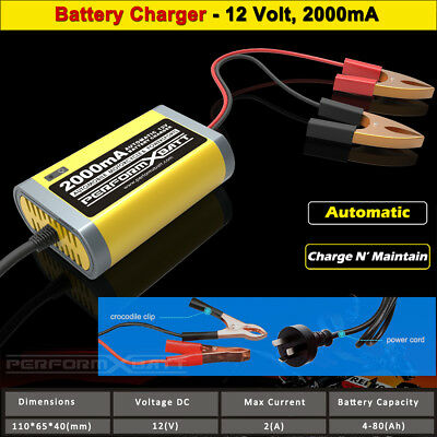Trickle Battery Charger 12 Volt Charge & Maintain 2A Car Jet Ski Motorbike Mower