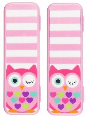 2 x My Doodles Owl Hard Pink Pen Stationary Back To School Hard Pencil Case