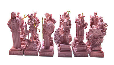 OlympiansTwelve Gods Sculpture set ancient Greek alabaster handpainted