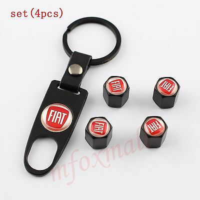 Air Dust Vhicle Wheel Tire Tyre Valve Stems Cap Lid For Fiat Accessory Key Ring