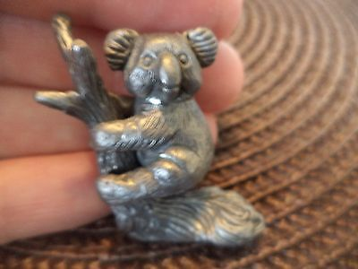 "1 1/2""  Detailed Hallmarked Pewter Koala In Tree (Detachable) Miniature Figurine"