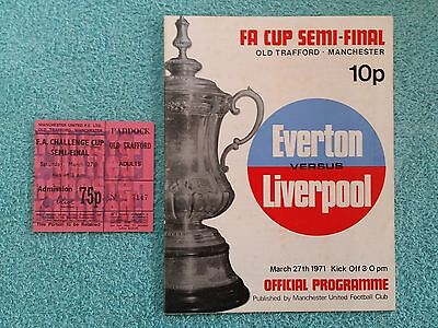 1971 - FA CUP SEMI FINAL PROGRAMME + MATCH TICKET - EVERTON v LIVERPOOL