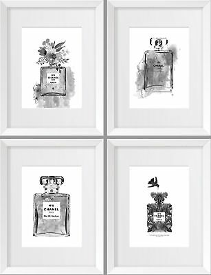 Set of 4 Mono Chanel No 5 Elegant Water Colour A5 A4 A3 Prints Poster Parfum NEW