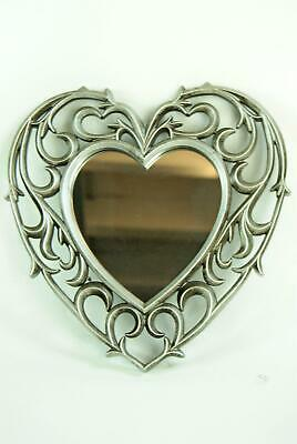 Heart Mirror 1 x Ornate Antique Silver Scroll Heart Shaped Wall Mirror Champagne