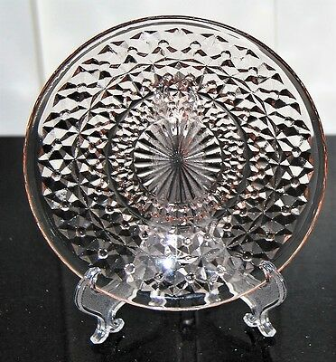 Jeannette Glass Buttons & Bows Pink Holiday Bread & Butter Plate (s)  MINT