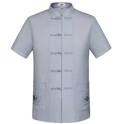 Brand Chinese Traditional Men's Cotton Linen Embroider Kung Fu Shirts Tops S-3XL