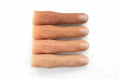 Finger Prosthetic w/ Short Nail in Soft Silicone, Partially Hollow Inside