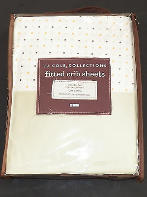 NWT JJ Cole Collections 2 Fitted Crib Sheets Green Polka Dot Pale Baby Toddler