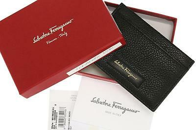 New Salvatore Ferragamo Men's Black Leather Logo Credit Card Case Holder Wallet