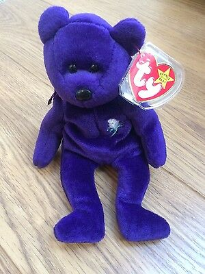 RARE Indonesia TY Beanie Baby Princess Diana 1997 Memorial Bear With Tag VGC