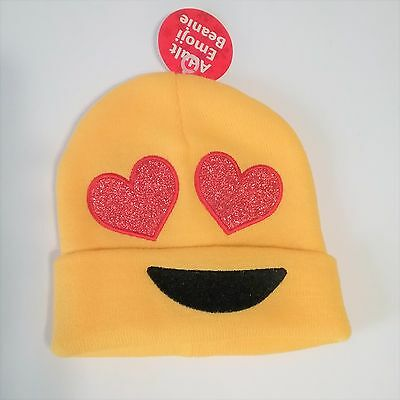 """Emoji """"Hearts Eyes"""" Adult Beanie New With Tags Emoticon One Size"""