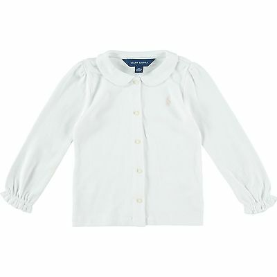 RALPH LAUREN baby girl White Long Sleeve BLOUSE 9/12M (80cm) soft interlock BNWT