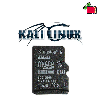 Kali Linux Preinstalled 8GB CLASS10 SD Card for Raspberry Pi 2 or 3