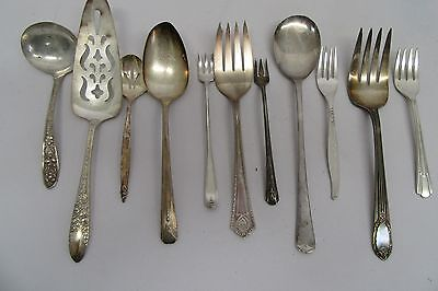Vintage Mixed 12 Pc Mixed Lot Silver plated Flatware Spoons Forks
