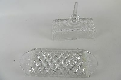 Vintage Lead Cut Crystal Butter Serving Dish With Lid