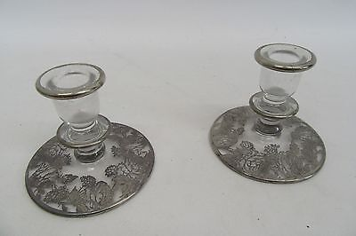 Vintage Glass Matching Candle Stick Holders Set of 2 With Ornate Silver Inlay
