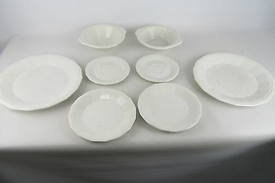 Vintage Lot of 8 Pieces Homer Laughlin Colonial White Saucer Plates Bowls