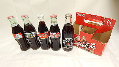 Coca Cola Glass Bottles Mixed Sports Lot 5 Pack Olympic Team Coke NFR Rodeo LOOK