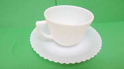 Vintage Depression Era 1930's Milk Glass Cup and Saucer Opaque