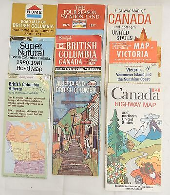 Lot of 10 MIXED Vintage CANADA BRITISH COLUMBIA ALBERTA HIGHWAY ROAD MAPS LOOK