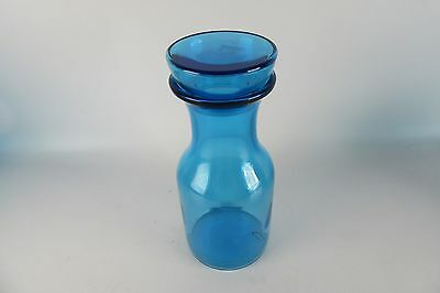 "Vintage Apothecary Blue Glass Canister Jar W Stopper 9 1/4"" Made in Belgium"