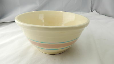 Antique McCoy Pottery USA 8 Mixing Bowl Blue Pink Bands Ring Primitive Farmhouse