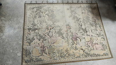 RARE VERY FINE QUALITY FRENCH LARGE WALL HANGING TAPESTRY 73x56 OLD ESTATE LOOK