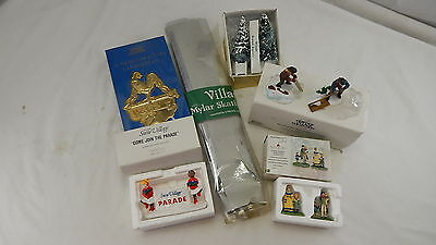 Department 56 Snow Village Figurine Lot Skate Trees Ice Christmas Ornament Vhs