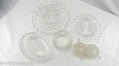 VINTAGE LOT of 7 FOSTORIA AMERICAN GLASS CAKE PLATE C&S SET BOWL TRAY