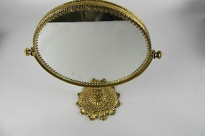 Vintage Gold Gilded Ornate Swivel Vanity Mirror With Stand