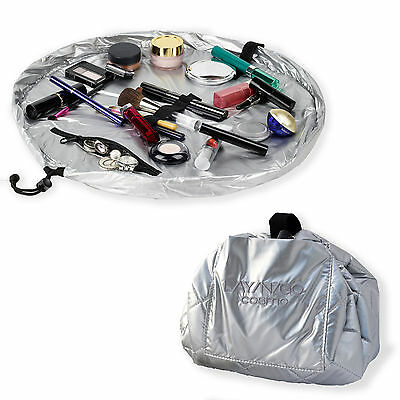 Lay N Go Cosmo 20 Silver Cosmetic Easy Travel Toiletry Makeup Bag Organize Gift