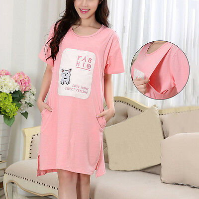 Maternity Pajama Short Sleeve Pink Home Dress Lady Feeding Sleepwear Loungewear