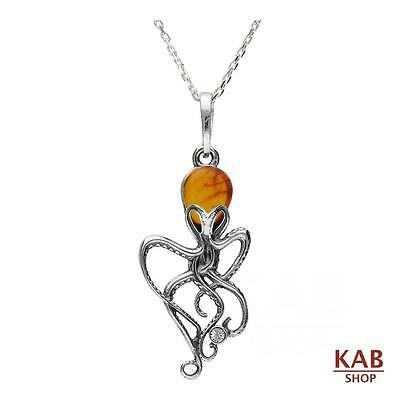 """COGNAC BALTIC AMBER STERLING SILVER 925 OCTOPUS SMALL PENDANT +18"""" chain, KAB-53"""