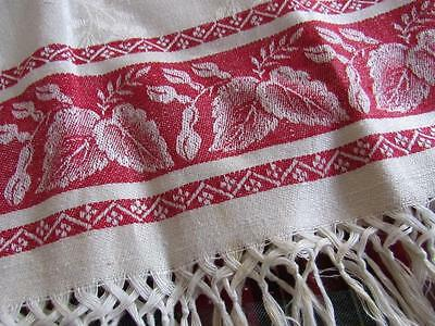 """BEAUTIFUL Antique Vtg CREAM & RED Damask Show Guest FRINGED Towel 19x37"""""""