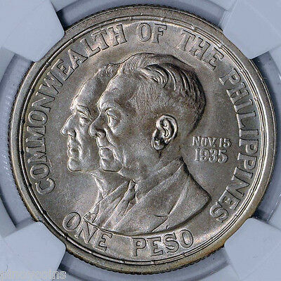 1936 M USA Philippines Peso - Murphy-Quezon - NGC MS 63
