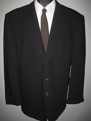 "46R -black pinstripe-3 button ""Profilo"" Athletic Fit - 100% wool suit -38W x 30L"