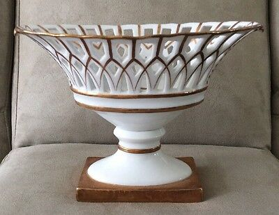"""Antique 7.75""""wOld Paris Gold Reticulated Centerpiece 4 Legged Oval Compote Bowl"""