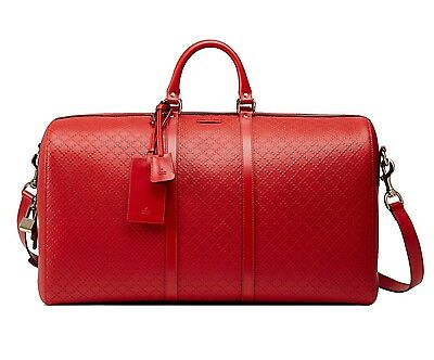 Gucci Duffle Carry On Large Travel Shoulder Bag Diamante Bright Red New