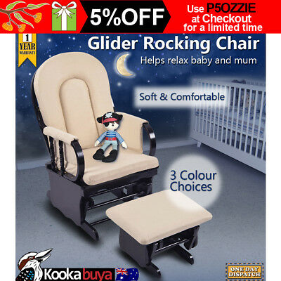 Baby Breast Feeding Sliding Glider Rocking Chair w/Ottoman 7 Reclining Positions