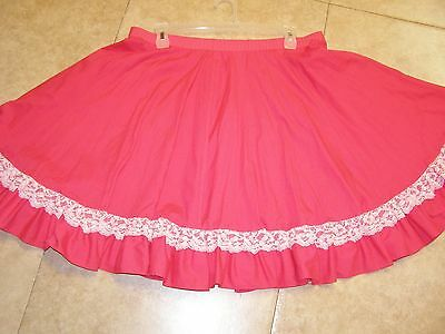 Square Dance Skirt Large Pink With White Lace