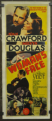 A Woman's Face 1941 Orig 14X36 Linen Backed Movie Poster Joan Crawford