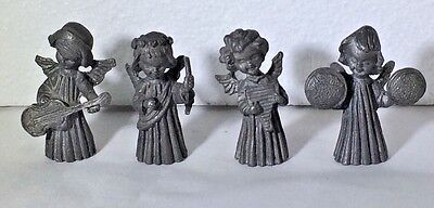 Vintage Pewter Musical Angels Made By Vernon Set Of 4