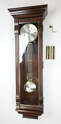 Vintage W.K. Sessions Grandfather Mechanical Wall Clock with Pendulum and Chime