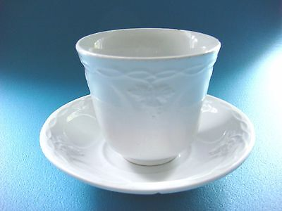 White Ironstone Cup & Saucer, Vintage Pattern