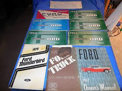 1957-1979 Ford Owners Manuals !! Group Of 10 All For One Bid!! Group#9