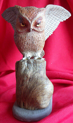 Hand Carved Wood, Red Screech Owl, Carved in Bath Maine 1991 by Frank Sylvester